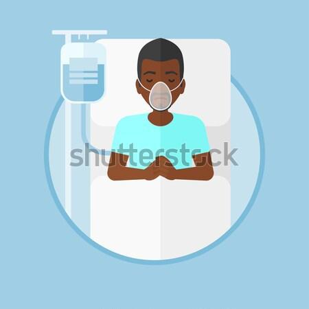 Paciente cama de hospital homem barba máscara de oxigênio Foto stock © RAStudio
