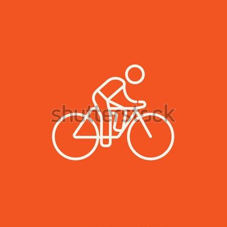 Foto stock: Homem · equitação · bicicleta · linha · ícone