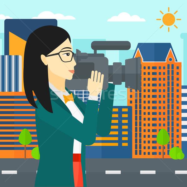 видеокамерой азиатских видео город вектора Сток-фото © RAStudio