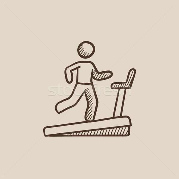 Férfi fut futópad rajz ikon háló Stock fotó © RAStudio