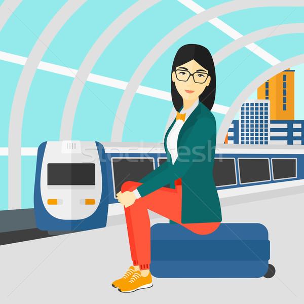 Mulher sessão ferrovia asiático moderno Foto stock © RAStudio