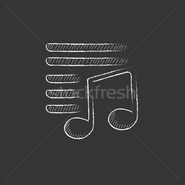 Musical note. Drawn in chalk icon. Stock photo © RAStudio
