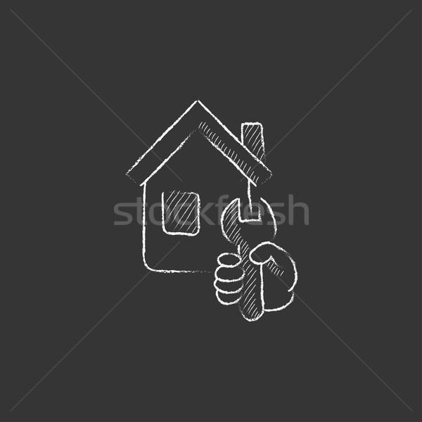 Maison réparation craie icône clé Photo stock © RAStudio