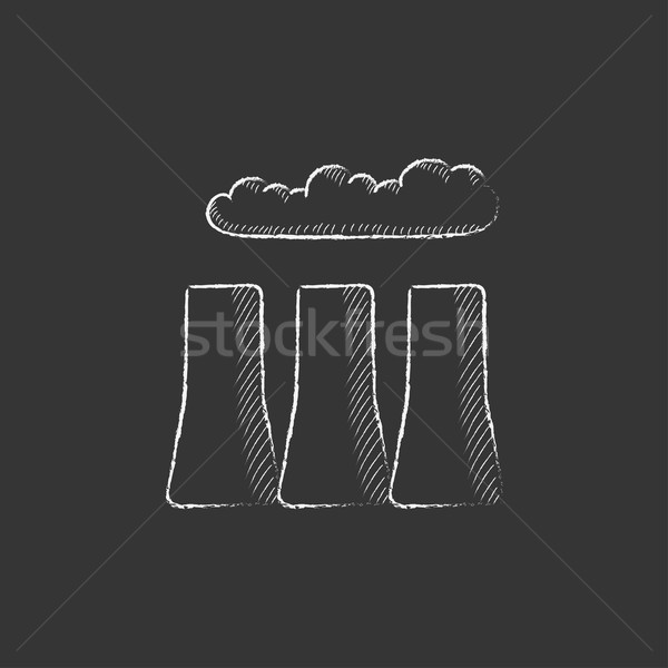 Factory pipes. Drawn in chalk icon. Stock photo © RAStudio