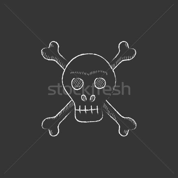 Skull and cross bones. Drawn in chalk icon. Stock photo © RAStudio