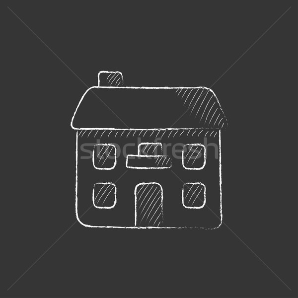Two storey detached house. Drawn in chalk icon. Stock photo © RAStudio