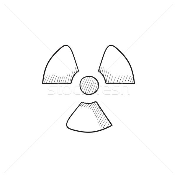 излучение знак эскиз икона вектора изолированный Сток-фото © RAStudio