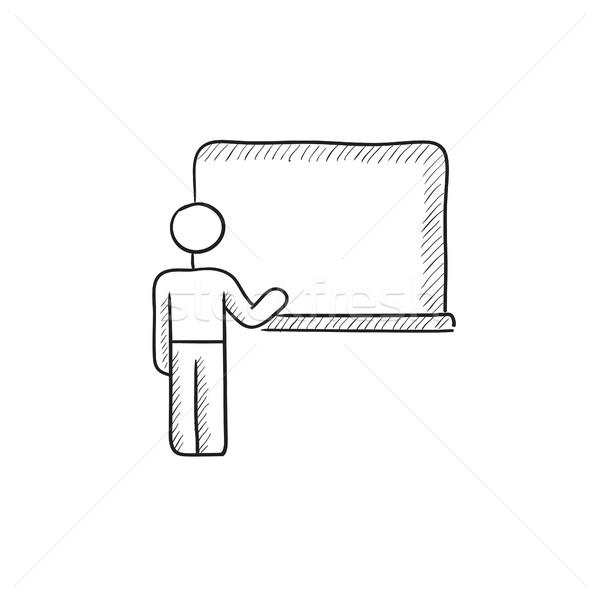 профессор указывая доске эскиз икона вектора Сток-фото © RAStudio