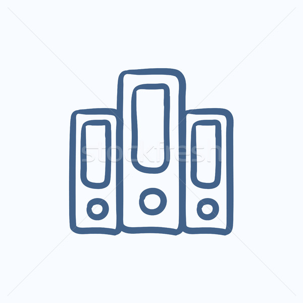 Row of folders sketch icon. Stock photo © RAStudio