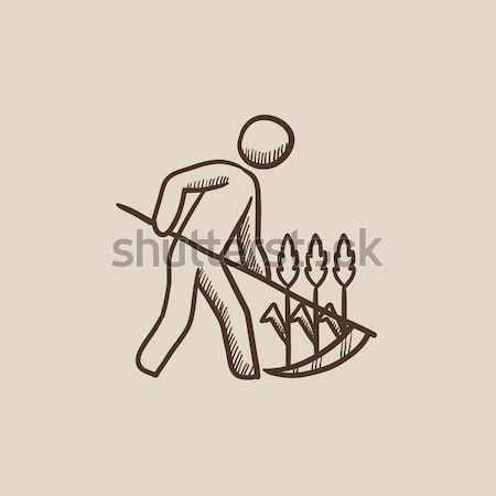 Man mowing grass with scythe sketch icon. Stock photo © RAStudio