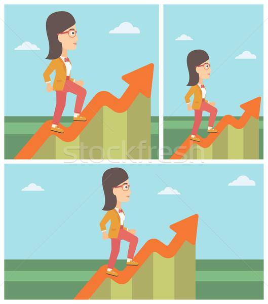 Foto stock: Mulher · de · negócios · corrida · crescimento · gráfico · alegre · empresária