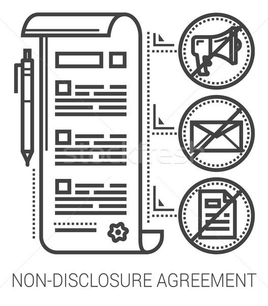 Non-disclosure agreement line icons. Stock photo © RAStudio