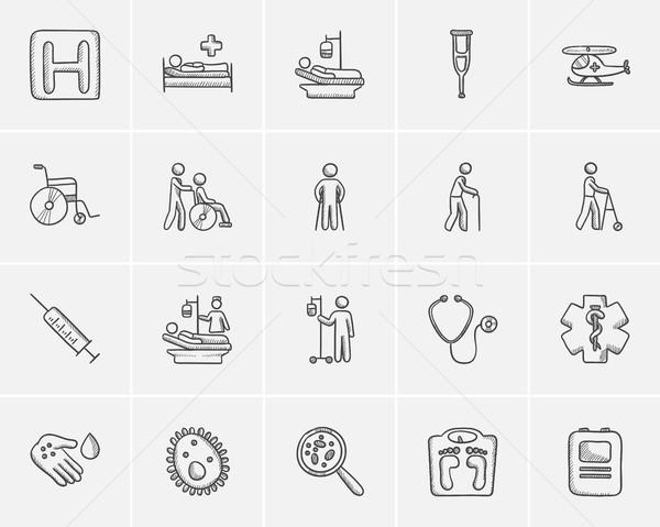 Stock fotó: Gyógyszer · rajz · ikon · gyűjtemény · háló · mobil · infografika