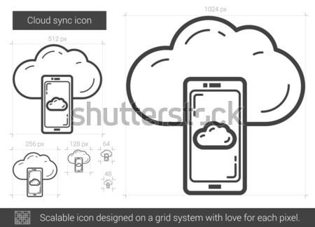 Cloud sync line icon. Stock photo © RAStudio