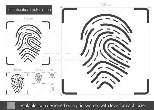 Identification ligne icône vecteur isolé blanche Photo stock © RAStudio