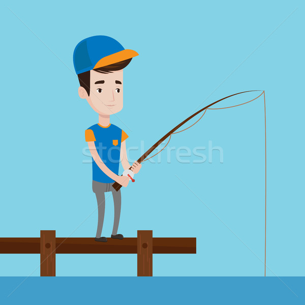 Man fishing on jetty vector illustration. Stock photo © RAStudio