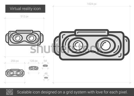 виртуальный реальность линия икона вектора изолированный Сток-фото © RAStudio