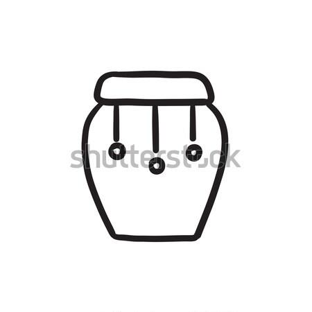 Tamburo strumento sketch icona vettore isolato Foto d'archivio © RAStudio