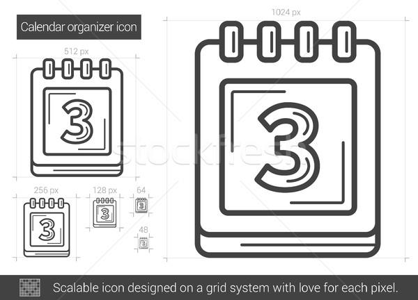 Takvim organizatör hat ikon vektör yalıtılmış Stok fotoğraf © RAStudio