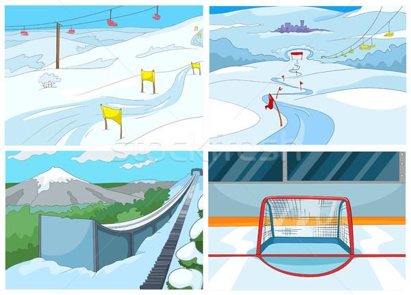 Cartoon establecer fondos deporte infraestructura dibujado a mano Foto stock © RAStudio