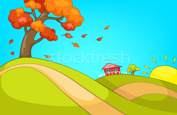 Desenho Animado Outono Paisagem Colorido Foto Stock