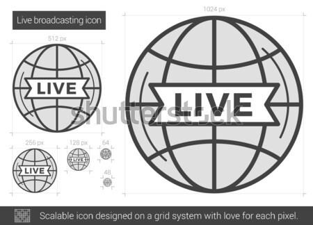 Viver radiodifusão linha ícone vetor isolado Foto stock © RAStudio