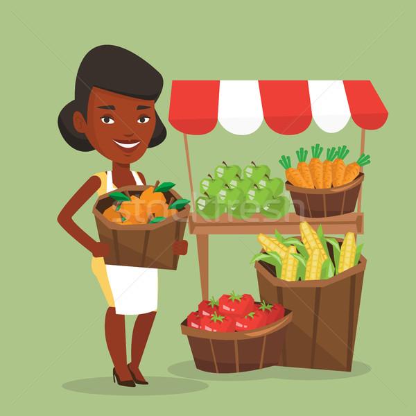 улице продавец плодов овощей африканских зеленщик Сток-фото © RAStudio