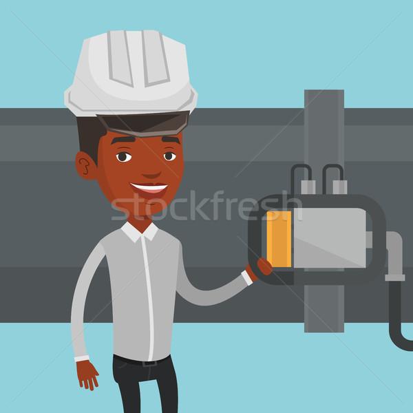 Stockfoto: Exploitant · detector · gas · pijpleiding · afrikaanse