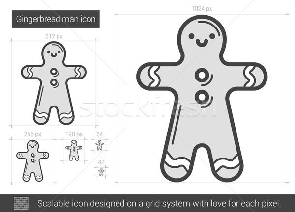 Gingerbread man ligne icône vecteur isolé blanche Photo stock © RAStudio