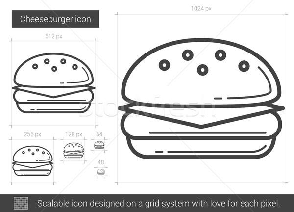 Cheeseburger lijn icon vector geïsoleerd witte Stockfoto © RAStudio