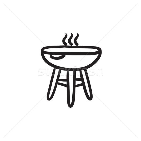 Ketel barbecue schets icon vector geïsoleerd Stockfoto © RAStudio