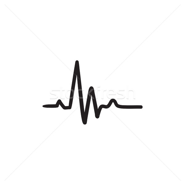 Bicie serca kardiogram szkic ikona wektora odizolowany Zdjęcia stock © RAStudio