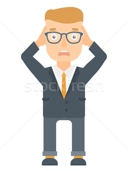 Stressful office worker clutching his head. Stock photo © RAStudio