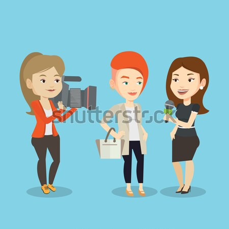 Stock photo: TV interview vector illustration.
