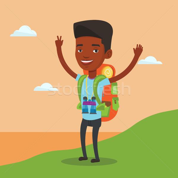 пеший турист руки вверх декораций африканских рюкзак Сток-фото © RAStudio