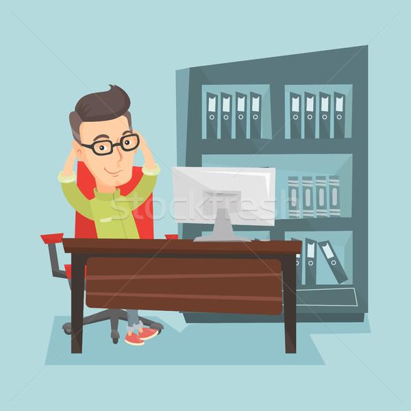 Satisfait homme d'affaires détente bureau séance travail Photo stock © RAStudio