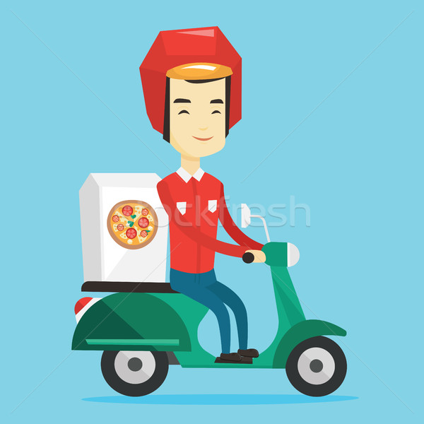 Stock photo: Man delivering pizza on scooter.