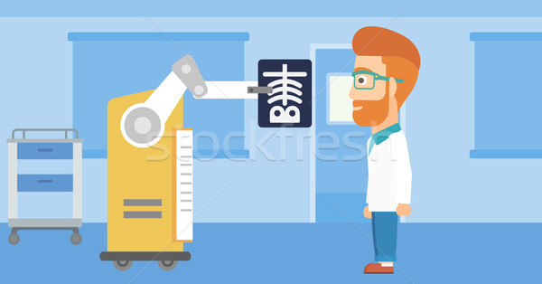 Doctor examining radiograph with help of robot. Stock photo © RAStudio