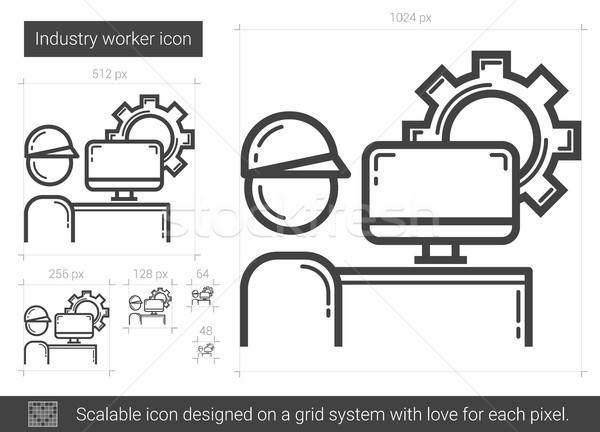 Сток-фото: промышленности · работник · линия · икона · вектора · изолированный