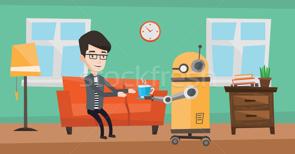 Domestic robot brings cup of coffee to his owner. Stock photo © RAStudio