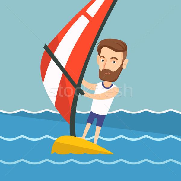 Fiatalember windszörf tenger fiatal hipszter férfi Stock fotó © RAStudio