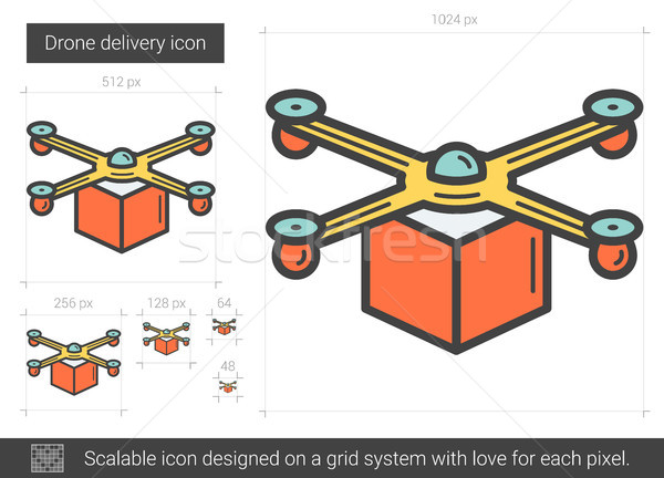 Drone delivery line icon. Stock photo © RAStudio