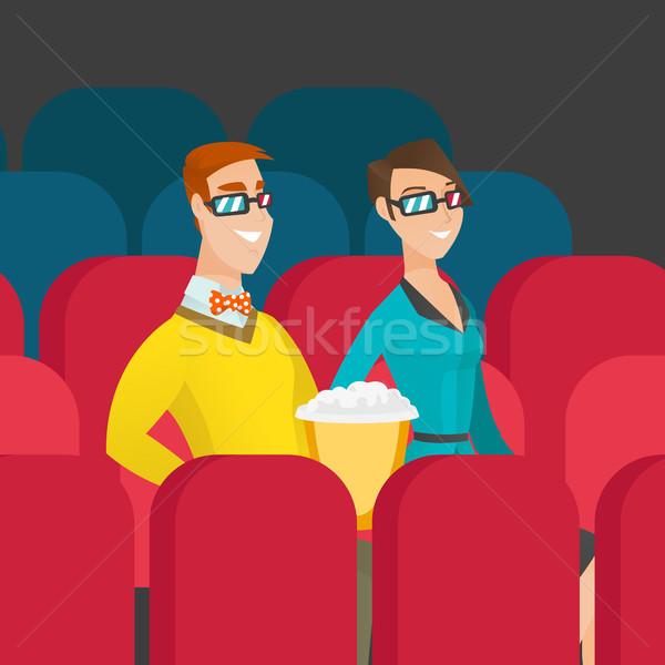 Kaukasisch paar kijken 3D film theater Stockfoto © RAStudio