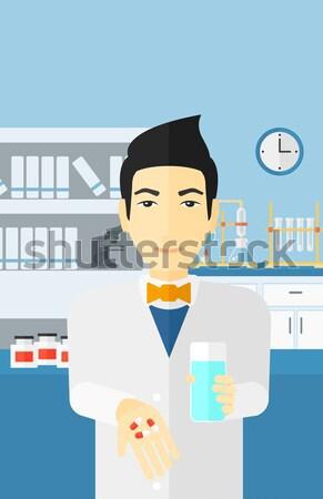 Férfi kórházi ágy kaukázusi beteg szívritmus monitor Stock fotó © RAStudio