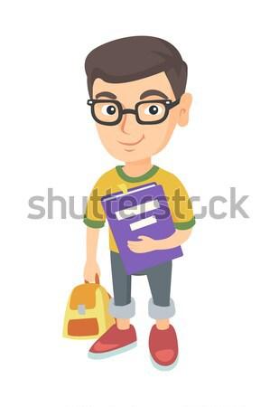 Kafkas sırt çantası ders kitabı eğitimi tam uzunlukta gülen Stok fotoğraf © RAStudio