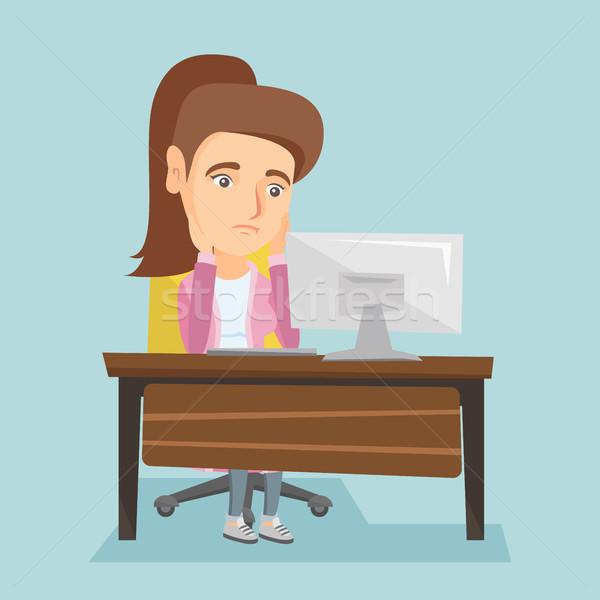 Agotado caucásico empleado de trabajo oficina sesión Foto stock © RAStudio