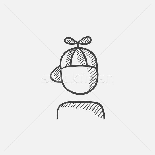 Boy in cap with propeller sketch icon. Stock photo © RAStudio