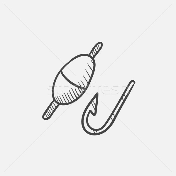 Fishing hook with bobber sketch icon. Stock photo © RAStudio