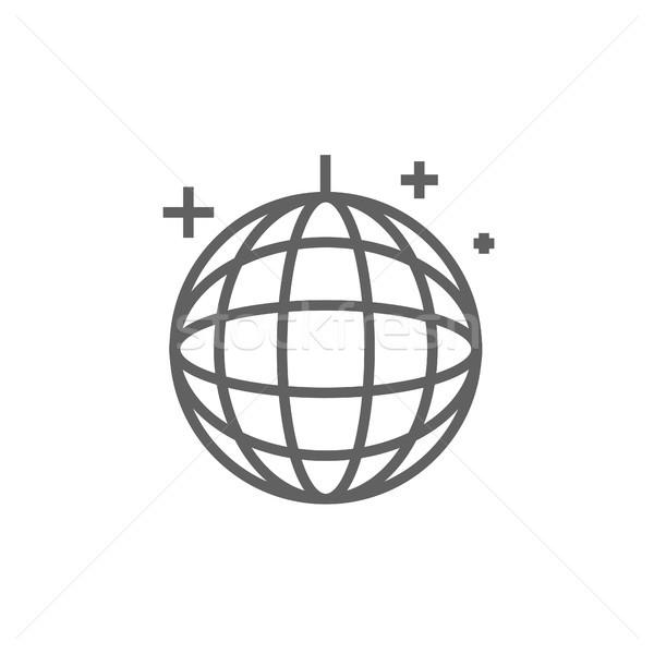 Disco ball lijn icon hoeken web mobiele Stockfoto © RAStudio