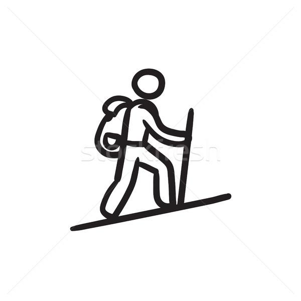 туристических пеший турист эскиз икона вектора изолированный Сток-фото © RAStudio